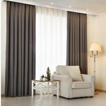 Harga 4 Pcs Set - Extra Thick Elegant Curtain With White Sheer Curtain - 200 x 270 cm - French pleat - Free curtain Hooks