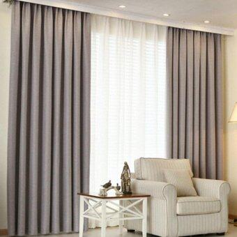 Harga 1 Piece Curtain set -Extra Thick Elegant Curtain- Light Grey- French Pleat - Free Curtain Rope and Hooks