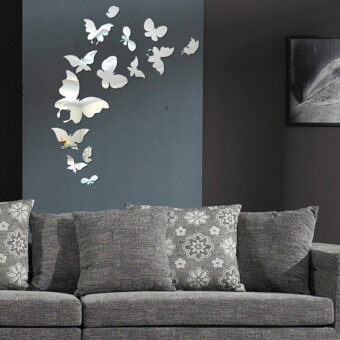 Harga 3D Acrylic Butterfly Decoration Crystal Stereo mirror wall stickers poster stickers home home decoration accessories home decor - Silver