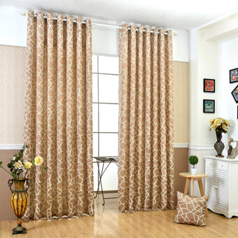 Harga 1 pcs 100x270 Geometric jacquard modern simple design living room blind home curtain window cream