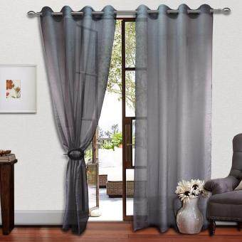 Harga 2 PIECES : Cozzi Eyelet Day Curtain 140cm x 260cm - FREESTYLE GREY(Fit window/sliding door up to 250cm width)