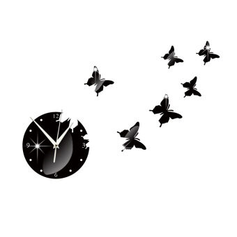 Harga 3D Butterfly Mirror Wall Decal Clock -Black