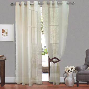 Harga 2 PIECES : Cozzi Eyelet Day Curtain 140cm x 260cm - FREESTYLE CREAM(Fit window/sliding door up to 250cm width)