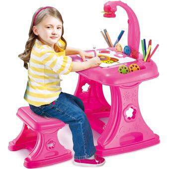 Harga Kids Projector Deluxe Art Master Light Desk Children Furniture Drawing Tables And Chair - Pink