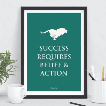"Harga Framed Poster Print - A3 Size - Wall Art & Home Decoration - ""Success Requires Belief And Action"""