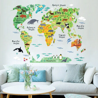 Harga Colorful World Map Removable Wall Sticker Mural Decal Vinyl Art Kids Room Office Home Decor Animal World Decoration Wallpaper