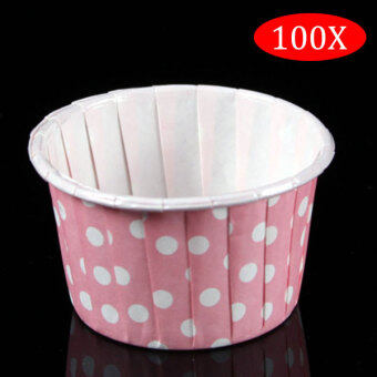 Harga PAlight 100Pcs Round Shape Paper Muffin Cases Cake Cupcake Bakeware Maker Mold (color:Pink Dot)