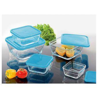 Harga 5psc Glass Square Bowl Wiith Lid (Blue Berry)