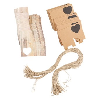 Harga 50pcs Kraft Brown Heart Rustic Candy Gift Boxes with Rope Wedding Favor
