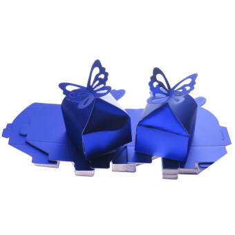 Harga 50PCS Butterfly Sweet Candy Gift Boxes Baby Shower Wedding Party Favor Blue