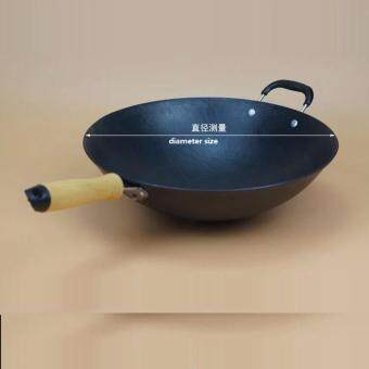 Harga LAKAI CAST IRON WOK 34CM COOKING POT NO COATING NON-STICK ORIGINAL IRON PAN COOKING PAN