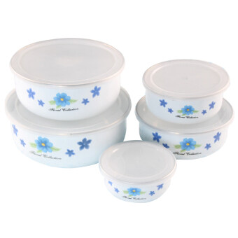 Harga Enamel sealing bowl covered 5pcs Round with cover mini lunch box for the kitchen rice Bowls