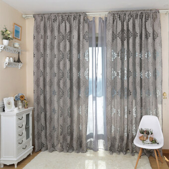 Harga 1 pcs European style design jacquard fabrics for window balcony living room European style curtain gray