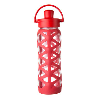 Harga Lifefactory Glass Bottle - 22oz (650ml) - Active Flip Cap - (Charged Red)