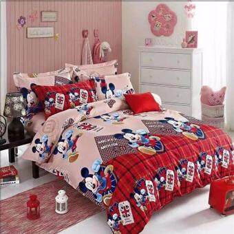 Harga Matahari Queen Fitted Bedsheet Set 100% Cotton - MICKEY MOUSE RED - 4 PCS -(HOMEMADE)