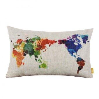 Harga BUYINCOINS Colorful World Map Cotton Linen Square Throw Pillow Case Decor Cushion Cover