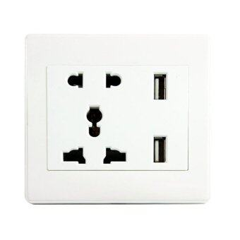 Harga Durable International Universal Double USB Outlet Power Wall Socket Plug
