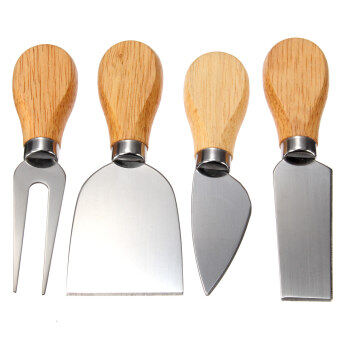 Harga 4Pcs Stainless Oak Wood Handle Cheese Butter Blade Fork Knives Set Kitchenware