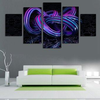 Harga Three-Dimensional Printing 5 Panel Abstract Art Canvas Painting Home Decoration Wall Art 3D Vivid Picture