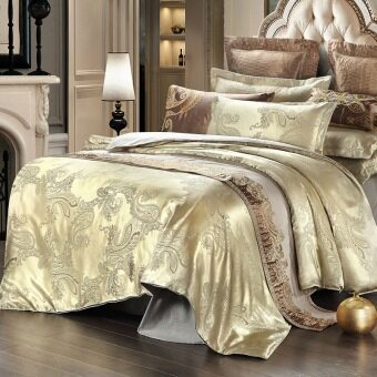 Harga Gorgeous Satin Jacquard Duvet Cover bedsheet with pillowcase Complete Bedding Set queen Size 4 pieces – beige