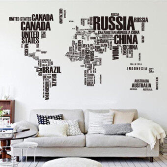 Harga GETEK Letter World Map Quote Wall Stickers