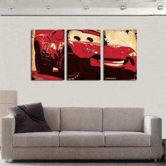 Harga Modern fashion HD print abstract oil painting on canvas red cars lightning mcqueen wall art cartoon pictures home decoration 16x24inchx3Pcs