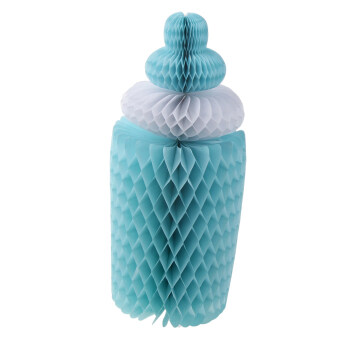 Harga MagiDeal Adorable Baby Shower Party Bottle Paper Honeycomb Table Centrepiece Blue
