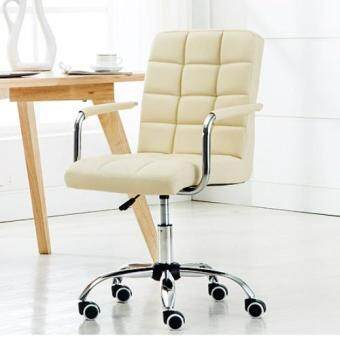 Harga Fully assembly full leather Comfort & Ergonomic Swivel Chair - Pearl White