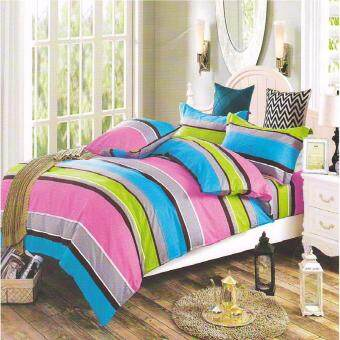 Harga Matahari SINGLE SPECIAL Fitted Bedsheet Set 100% Cotton - STRIPES PINK - 4 PCS -(HOMEMADE