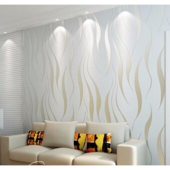 Harga Elegant Wave Wall Paper Modern Simple Seamless Eco-friendly Non-woven Wallpaper for Home Decor