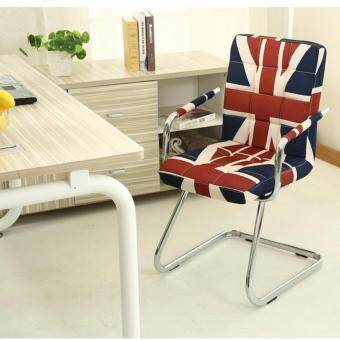 Harga Fully Assembly Stylish Comfort Linen Office Chair - Z Leg Design -Flag Design