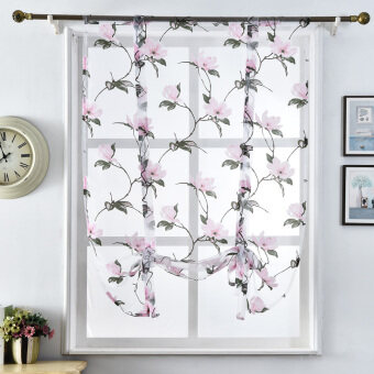 Harga 1 pcs Short kitchen curtains fashion door window treatments roman blinds pink