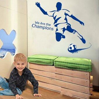 Harga We Are the Champions Football Wall Sticker Decal PVC Mural Art Home Picture Paper for House Room Decoration