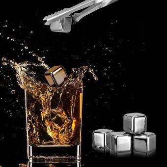 Harga Loveu Store 8 Pcs Cooling Ice Cubes Stainless Steel Reusable Wine Cooling Cubes with Ice Tongs Freezing Tray, Whiskey Chilling Rocks, Whisky Ice Stones and Sipping Stones