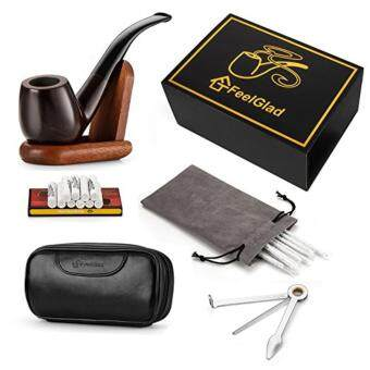 Harga [Update Version]FeelGlad Ebony Smoking Pipe with 10 Filter Element + Scraper + High Grade Pipe Pouches+10 pipe cleaners (style 1)