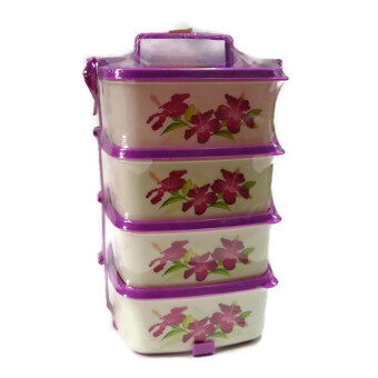 Harga 4 Layer Lunch Box Lava Tiffin Carrier Container (Light Purple)
