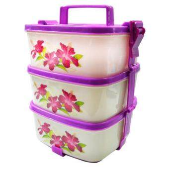Harga Lava™ 3 Layer Plastic Stackable Lunch Box Tiffin Carrier - Hibiscus