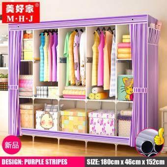 Harga MHJ 218-S [NP70] High Quality Steel Frame Wardrobe Side Open DIY Modern Multifunctional Cloth Wardrobe (King Size)