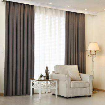 Harga 1 Piece Curtain Set -Extra Thick Elegant Curtain- Dark Grey - French Pleat - Free Curtain Rope and Hooks