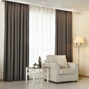 Harga 2 Pcs Set - Extra Thick Elegant Curtain - Dark Grey - 130 x 200 cm - French pleat - Free curtain Hooks & rope