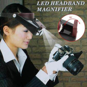 Harga 10pcs Headband Magnifier Head Magnifying Glass Lens Loupe with LED Light for Jewel Repair