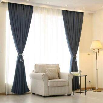 Harga 2 Pcs Set - Extra Thick Elegant Curtain - Deep Blue - 200 x 270 cm - French pleat - Free curtain Hooks