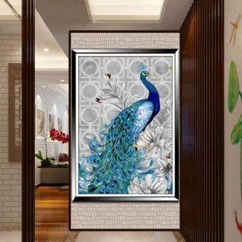 Harga 32*45cm DIY 5D Diamond Embroidery Diamond Mosaic New Peacock Soul Love Round Diamond Painting Cross Stitch Kits Home Decoration