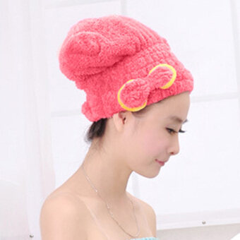 Harga Microfiber Hair Turban Quickly Dry Hair Hat Wrapped Towel Bath pale red