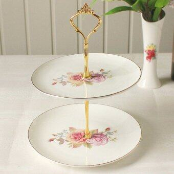 Harga 1set 3 or 2 Tier Cake Plate Stand Handle Fitting Hardware Rod Plate Stand LKJ 2Gold