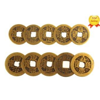 Harga leegoal 10pcs Authentic Ancient Chinese Coins Qing Dynasty Feng Shui Purpose Fortune Copper Coin, Random Mixed 2.3cm/1inch