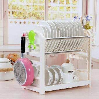 Harga Double Tiers Shelf Multi-functional Plastic Dish Rack Kitchen Storage Boxes Dish Drainer Cup Rack Plates Holder 40.5x24.5x36.5cm