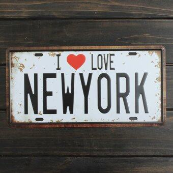 Harga Simple Design I LOVE NEWYORK License Plate Vintage Metal Sign Home Pub Bar Plaq ue Wall Decor Waterproof