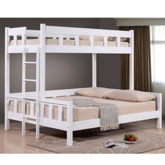 Harga Jewel White Solid Wood Single over Queen Bunk Bed