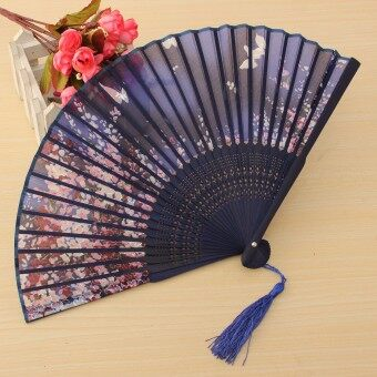 Harga Chinese Culture Silk Bamboo Flower Folding Pocket Hand Fan Wedding Favor Gift Dark Blue